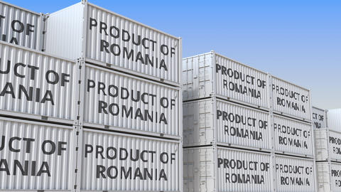 Containers with PRODUCT OF ROMANIA text in a container terminal, loopable 3D Live Action