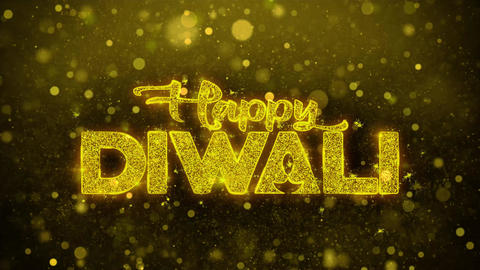 Happy Diwali Wish Text on Golden Glitter Shine Particles Animation Footage