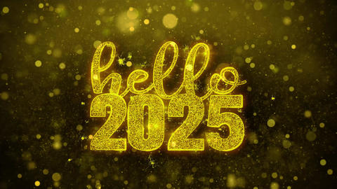 Hello 2025 Wish Text on Golden Glitter Shine Particles Animation Footage