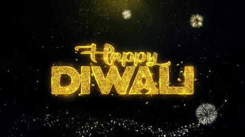 Happy Diwali Text Wish on Gold Particles Fireworks Display Live Action