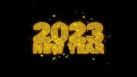2023 New Year Sky wish Text Sparks Particles on Black Background Footage