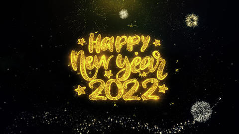 Happy New Year 2022 Text Wish on Gold Particles Fireworks Display Footage