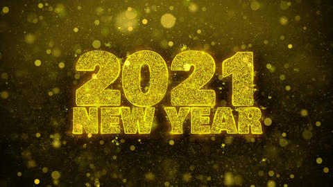 2021 New Year Wish Text on Golden Glitter Shine Particles Animation Footage