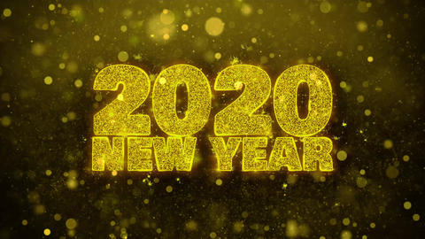 2020 New Year Wish Text on Golden Glitter Shine Particles Animation Footage