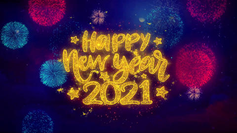 Happy New Year 2021 wish Text on Colorful Ftirework Explosion Particles Footage