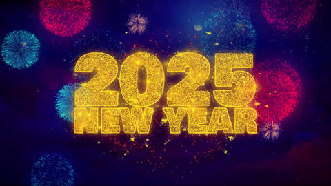 2025 New Year wish Text on Colorful Ftirework Explosion Particles Footage