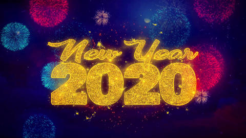 New Year 2020 wish Text on Colorful Ftirework Explosion Particles Footage