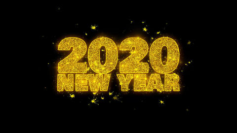 2020 New Year wish Text Sparks Particles on Black Background Footage