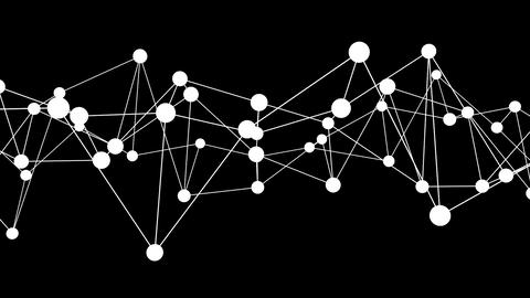 White dancing nodes network on a black background Videos animados