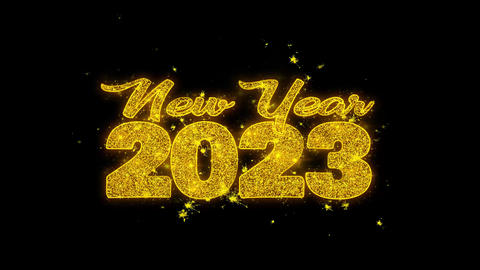 New Year 2023 wish Text Sparks Particles on Black Background Footage
