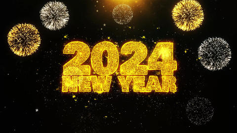 2024 New Year Text wish on Firework Display Explosion Particles Footage
