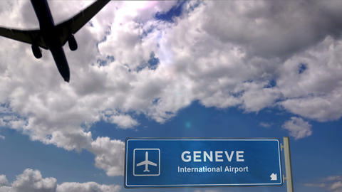 Airplane landing at Geneve Live Action