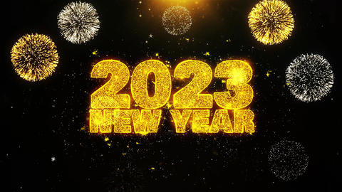 2023 New Year Sky Text wish on Firework Display Explosion Particles Footage