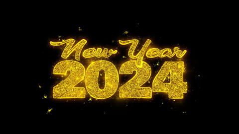 New Year 2024 wish Text Sparks Particles on Black Background Footage