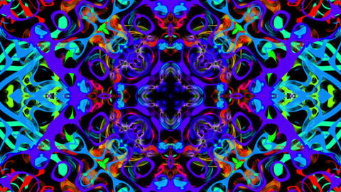 Abstract Video Loop Of Lines Forming Brightly Colored Psychedelic Patterns Animation