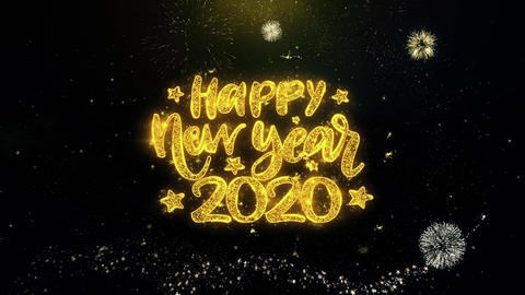 Happy New Year 2020 Text Wish on Gold Particles Fireworks Display Footage