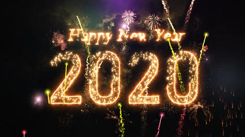 2020 christmas celebration and fireworks. Countdown from 10 Animation