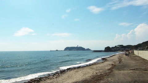 Enoshima is a famous tourist spot in Japan. And sandy beach Footage