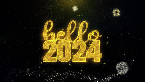 Hello 2024 New Year Text Wish on Gold Particles Fireworks Display Footage