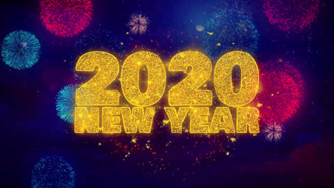 2020 New Year wish Text on Colorful Ftirework Explosion Particles Live Action