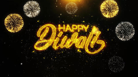 Happy Diwali Text wish on Firework Display Explosion Particles Live Action