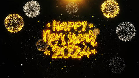 Happy New Year 2024 Text wish on Firework Display Explosion Particles Footage