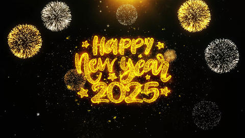 Happy New Year 2025 Text wish on Firework Display Explosion Particles Footage