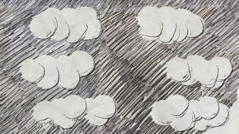 Sketch of Puffy Clouds in Pencil Drawing Style Stock Video Footage