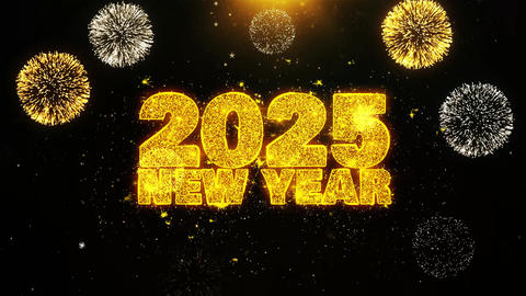 2025 New Year Text wish on Firework Display Explosion Particles Footage