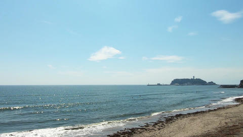 Japanese coast. View of famous sightseeing spot, Enoshima Footage