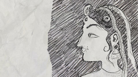 Sketch of a Traditional Indian Woman Face in Pencil Drawing Style Live Action