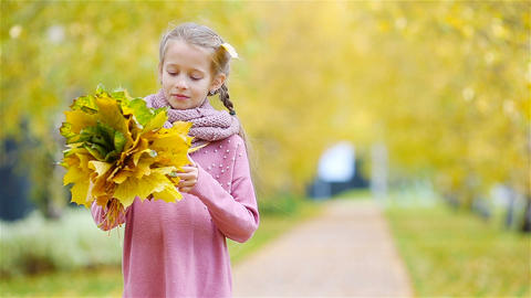 Portrait of adorable little girl with yellow and orange leaves bouquet outdoors Footage