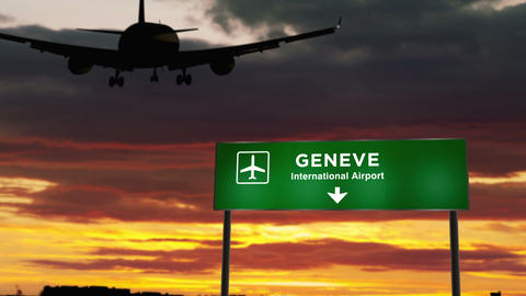 Plane landing in Geneve Live Action