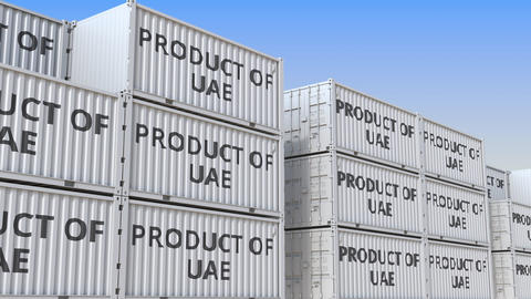 Containers with PRODUCT OF UAE text in a container terminal, loopable 3D Live Action