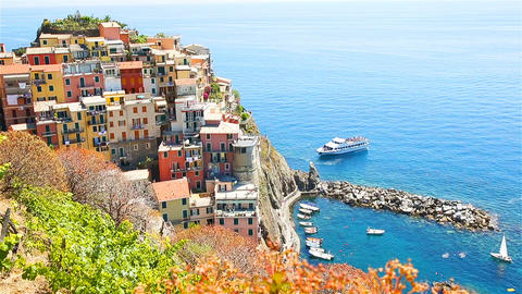 View on architecture of Manarola village. Beautiful city is one of the most Live Action
