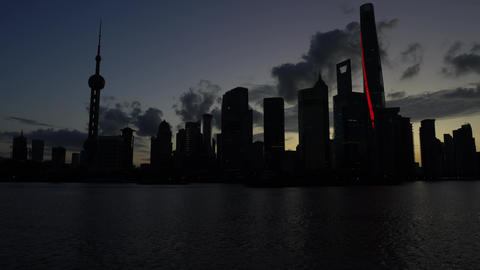 Shanghai,China-September 18, 2019: (24x speed)View of Pudong New Area high-rise buildings at sunrise Footage