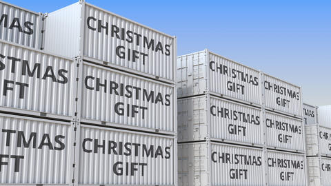 Containers with CHRISTMAS GIFT text in a container terminal, loopable 3D Live Action