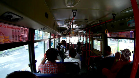 View from inside the bus with passengers. (by fisheye lens) Footage