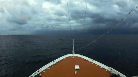 Cruise ship entering Cyclone Nilofar in the Arabian Sea Footage