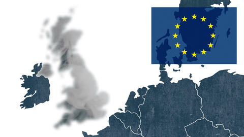 UK's EU referendum - West of EU map with an European flag - Brexit and the UK Animation