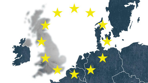 Map of west of European Union with 12 iconic stars - animation for Brexit - UK Animation