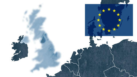 Referendum about Brexit - West EU textured map with the European flag Animation