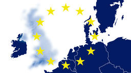 Brexit, West EU blue map with the 12 symbolic stars, UK disappears in blue smoke Animation