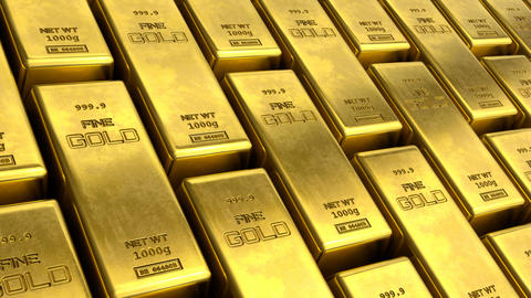 Close-up view Loopable video of aligned rows of fine gold bars Animation