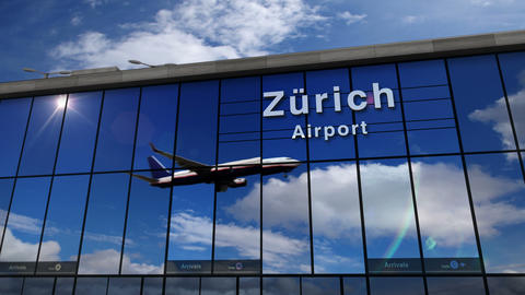 Airplane landing at Zurich mirrored in terminal Live Action