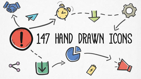 Hand-drawn Icons Pack After Effects Template
