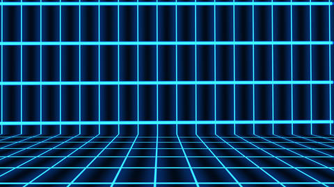 Futuristic Horizontal Blue Grid Animation with ray of light effect. Seamless loop background Animation