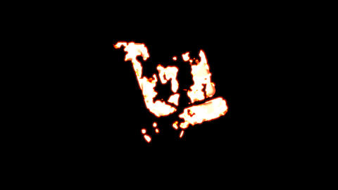 Symbol dolly burns out of transparency, then burns again. Alpha channel Premultiplied - Matted with Animation