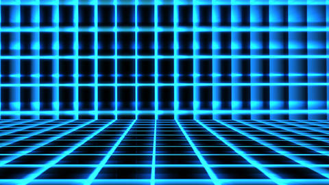 Futuristic Blue Grid Animation with ray of light effect. Seamless loop background Animation