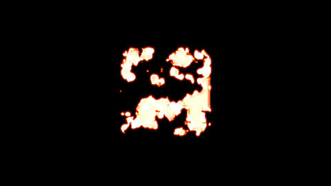 Symbol dice two burns out of transparency, then burns again. Alpha channel Premultiplied - Matted Animation